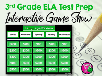 ELA Jeopardy Game and PDF file for test prep review, 3rd grade reading and language arts.