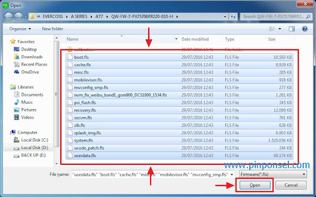 Pilih semua file ber ekstensi fls kemudian klik open