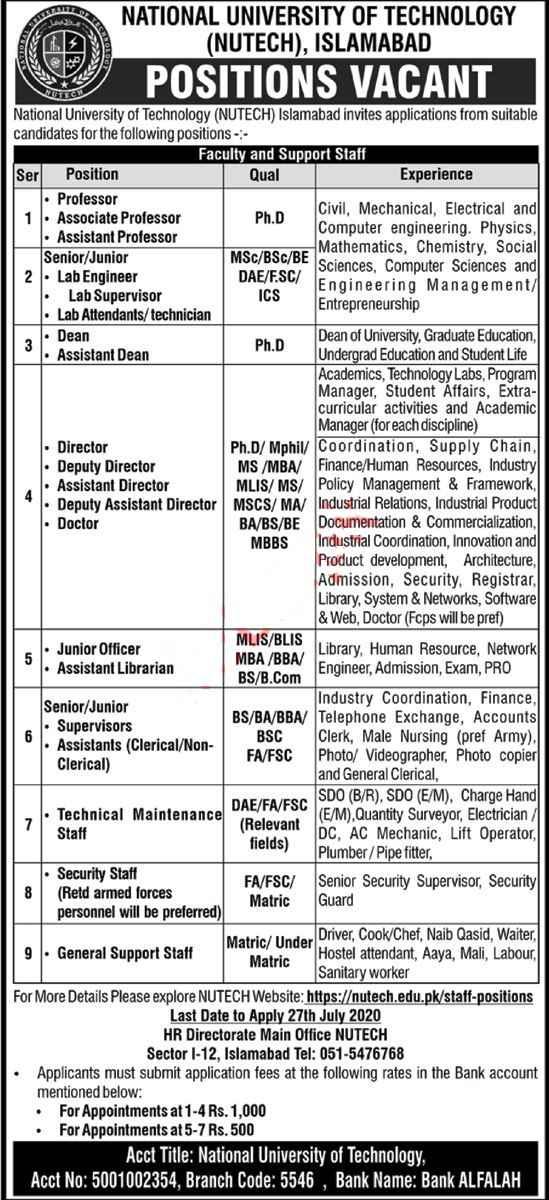 Latest National University of Technology NUTECH Islamabad Jobs 2020