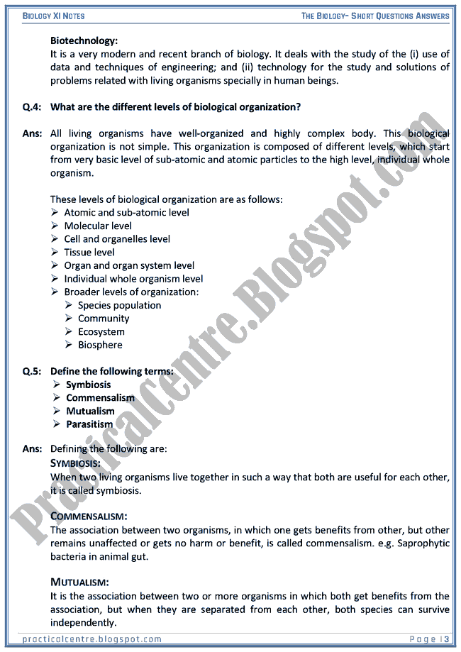 The Biology - Short Questions Answers - Biology XI