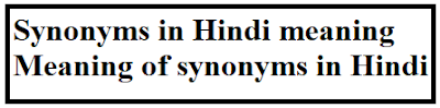 Synonyms in Hindi meaning - Meaning of synonyms in Hindi - synonyms meaning in hindi