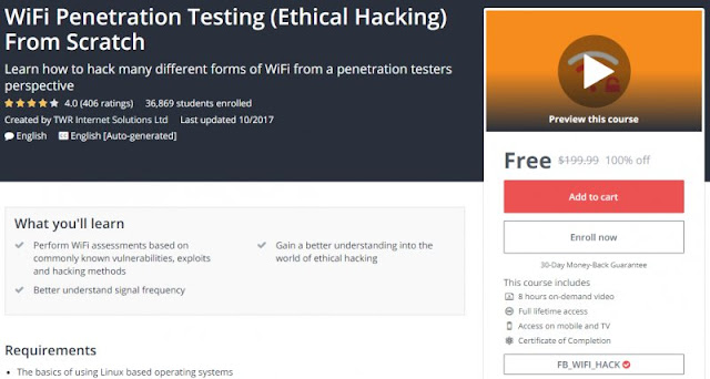 [100% Off] WiFi Penetration Testing (Ethical Hacking) From Scratch| Worth 199,99$