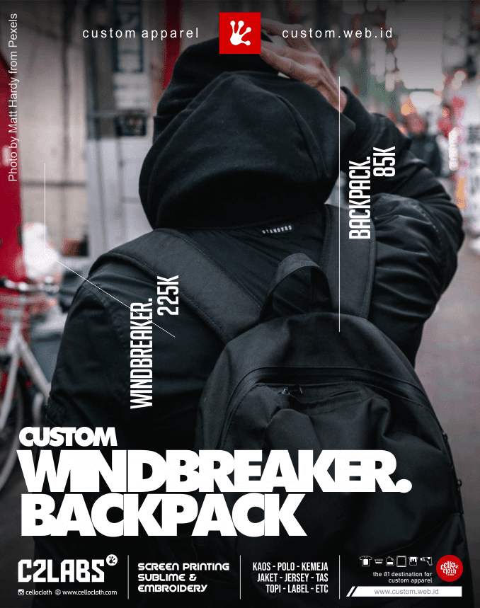 Bikin Windbreaker Printing and Backpack Bordir Custom - Konveksi Jogja