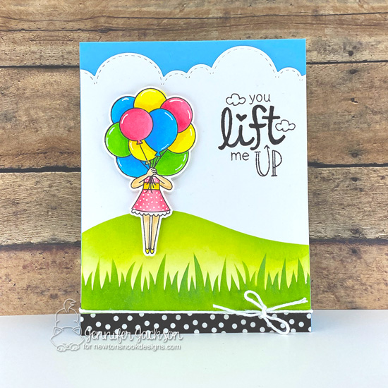 You Lift Me Up Card by Jennifer Jackson   Holding Happiness Stamp Set, Uplifting Wishes Stamp Set, Sky Borders Die Set and Hills & Grass Stencil by Newton's Nook Designs #newtonsnook