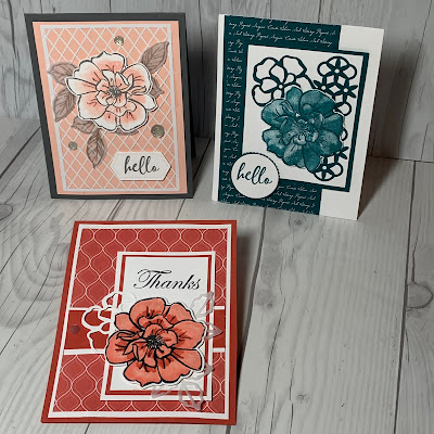 Three sample cards using To A Wild Rose Stamp Set Samples