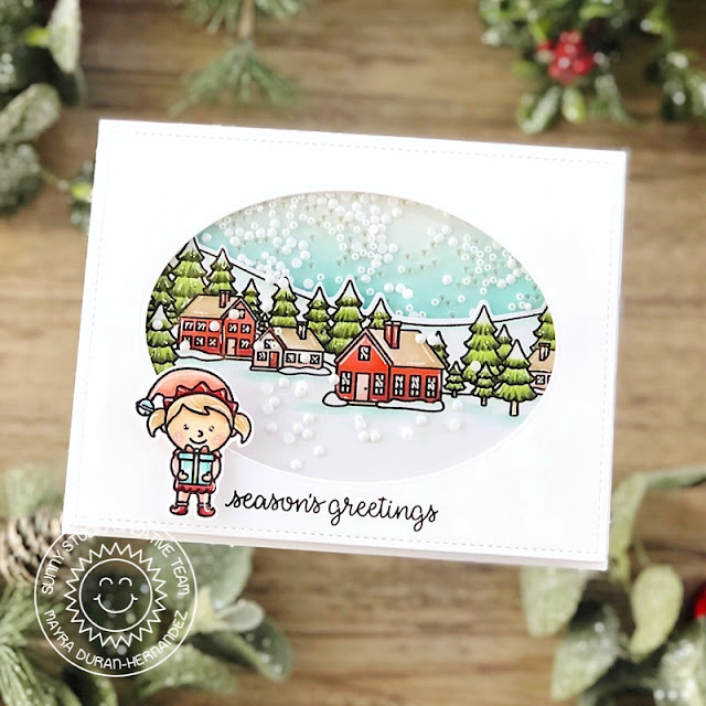 Sunny Studio Stamps: Winter Scenes North Pole Inside Greetings Winter Holiday Card by Mayra Duran-Hernandez