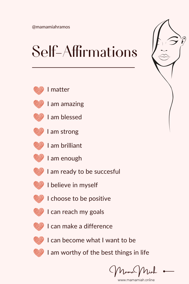 List of Positive Self-Affirmations by Mama Miah