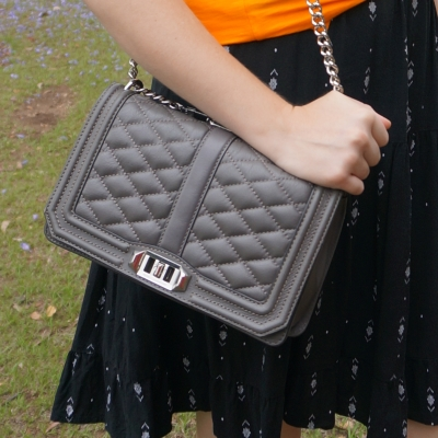 little black dress with Rebecca Minkoff Love cross body bag in grey | awayfromtheblue