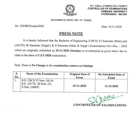 Osmania University Re-Schedule of B.E November-2020 Exam Press Notification
