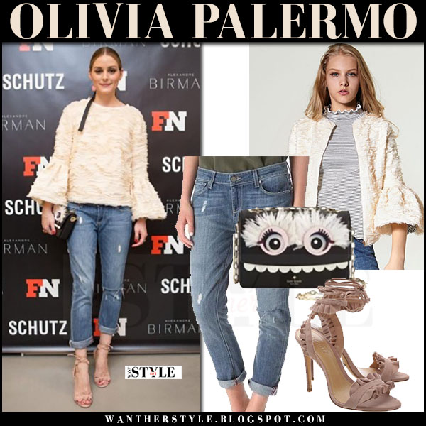 Olivia Palermo in cream flared sleeve top storets laurensia and ripped cropped jeans paige denim lydia what she wore may 31 2017