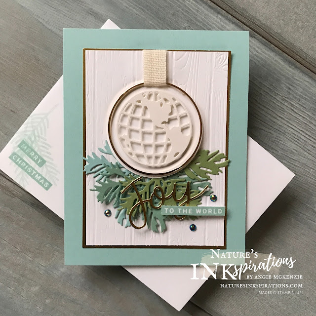 By Angie McKenzie for Ink and Inspiration Blog Hop; Click READ or VISIT to go to my blog for details! Featuring:  Peace & Joy Bundle, World Map Dies, Beautiful Boughs Dies, Pinewood Planks 3D Embossing Folder, Gold Hoop Embellishments; #peaceandjoybundle #worldmapdies #beautifulboughsdies #pinewoodplanksembossingfolder #farmhousechristmas #goldhoopembellishment #holidaycards #holiday2020 #bloghops #inkandinspirationbloghop #iibh #stampinup #cardtechniques #christmascards #joytotheworld #world #naturesinkspirations #handcrafted #diy #handmadecards #papercrafting  #offstamping