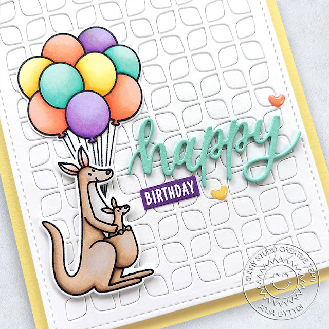 Sunny Studio Stamps: Outback Critters Floating By Frilly Frame Dies Birthday Card by Anja Bytyqi