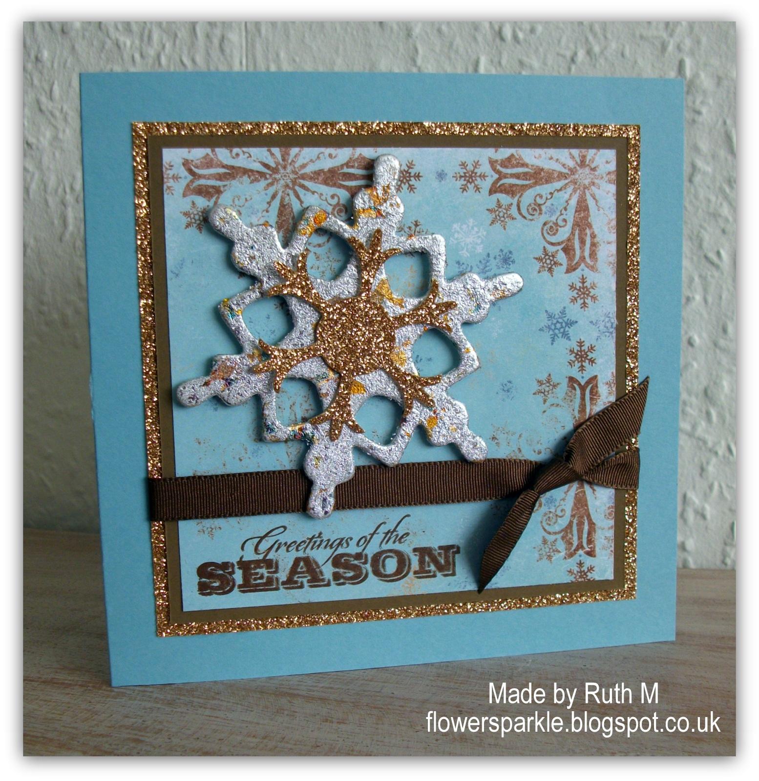 Flower Sparkle Chipboard Snowflake Greetings Of The Season Card