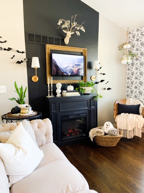 vaulted ceiling black fireplace