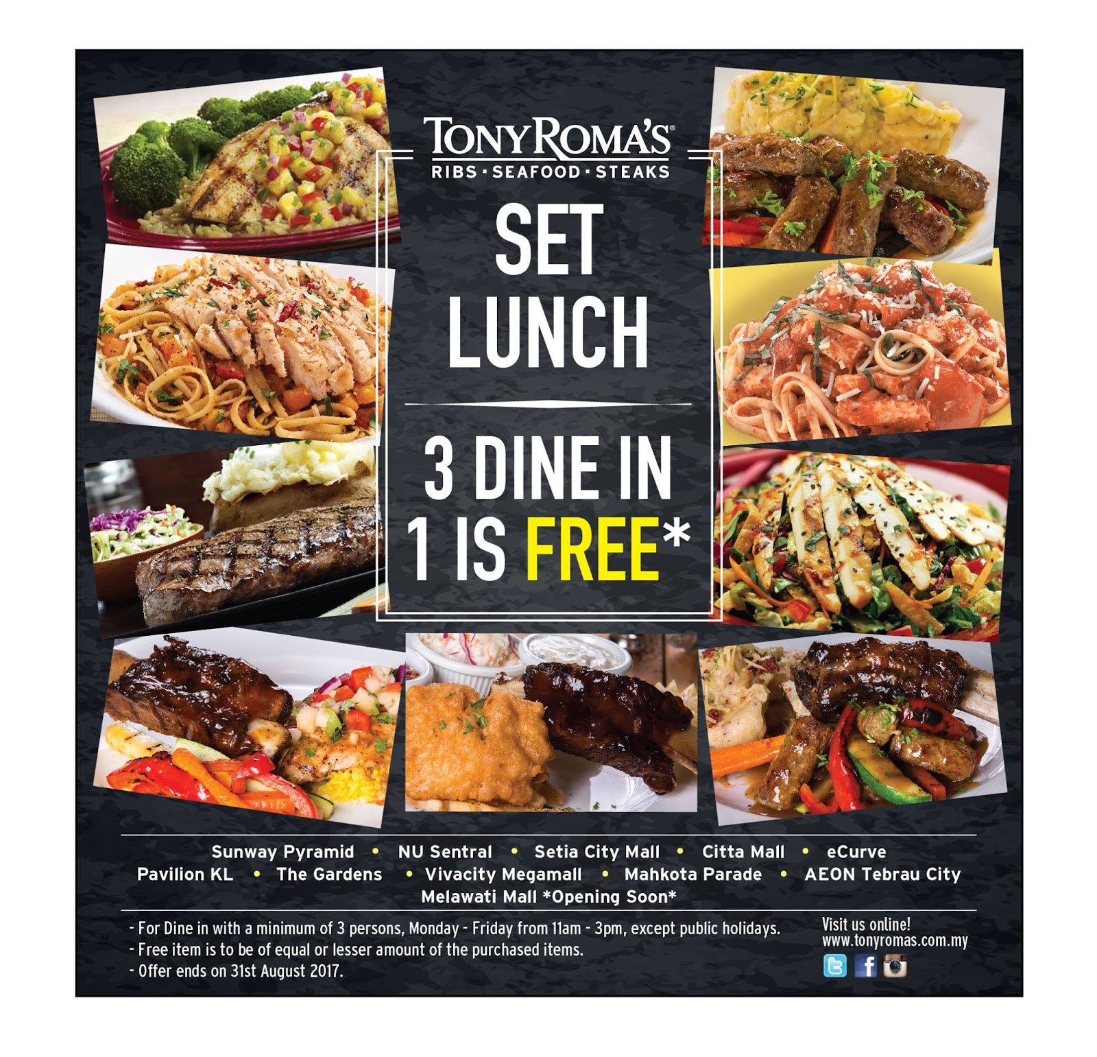 July 2017 Raja Voucher Hypermart 50000 Com Tony Romas Lunch Set Buy 3 Free 1 Promo