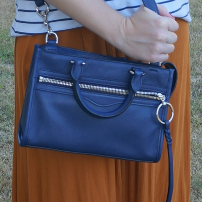 ochre orange maxi skirt with  Rebecca Minkoff Micro Bedford zip satchel in twilight | away from the blue