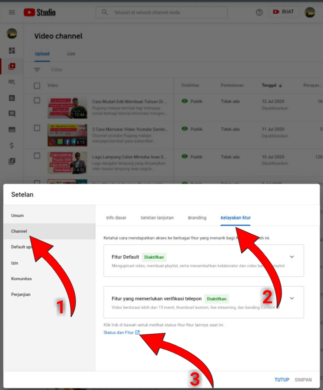 Cara mengubah link chanel youtube agar pendek