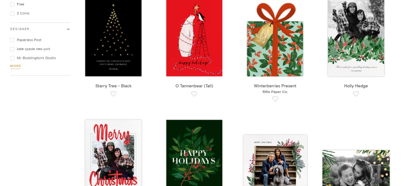 A screenshot of the Paperless Post Christmas card collection