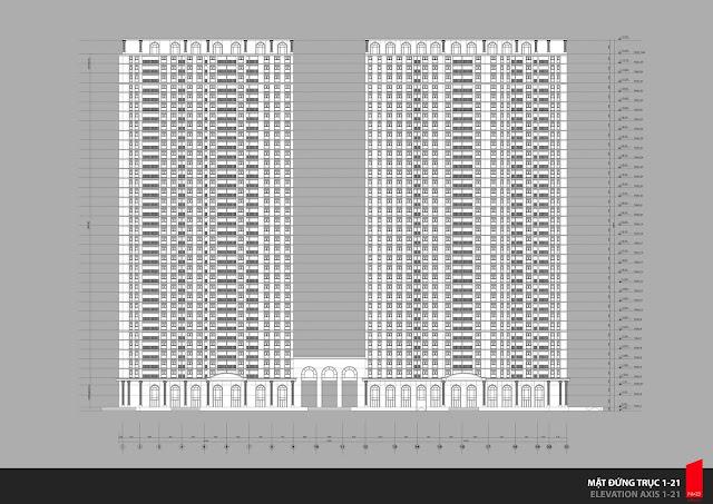 Phối cảnh đứng và thông số kỹ thuật hai tòa chung cư