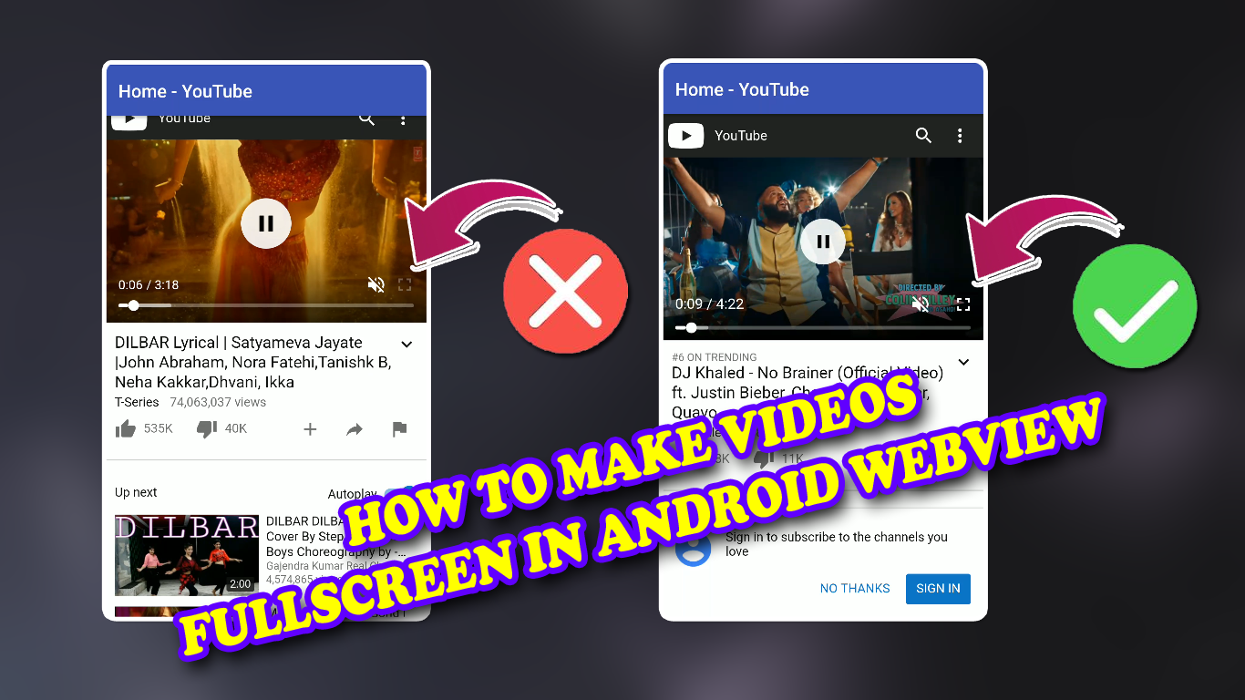 How to Enable Fullscreen mode in any videos in webview