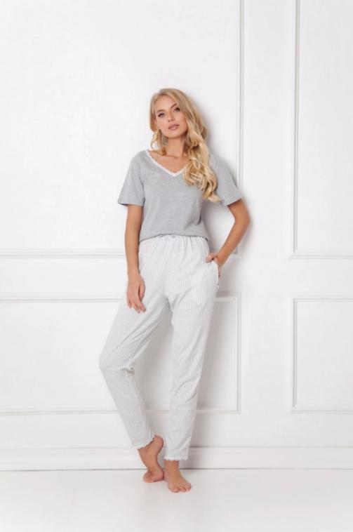 Aruelle - Pijama Gwen gri cu alb set din pantaloni lungi si tricou