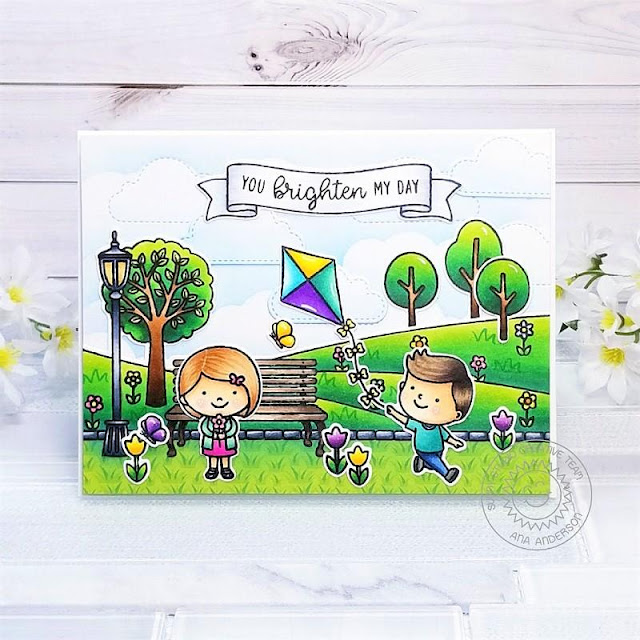 Sunny Studio Stamps: Spring Scenes Spring Showers Fluffy Clouds Banner Basics Spring Themed Card by Ana Anderson