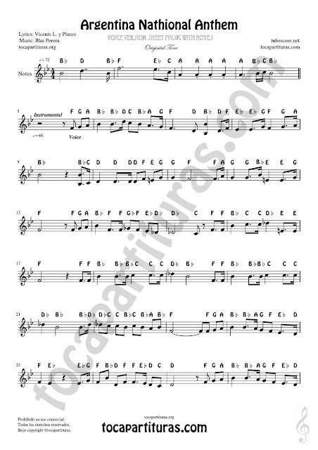 Argentina National Anthem Notes Sheet Music for voice version. Treble Clef instruments (Violin, Flute, Trumpet, Clarinet, Oboe, Horn, Saxophone...)