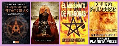 portadas del libro El asesinato de Pitágoras, de Marcos Chicot
