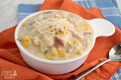This creamy Parmesan Chicken Corn Chowder with its hearty potatoes, roasted chicken, and the addition of Parmesan cheese takes the traditional corn chowder to a whole other level of deliciousness.