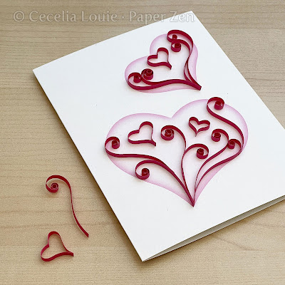Quilling Heart for Valentine Card - heart design and loose scroll