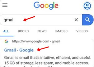 Type gmail and click gmail website