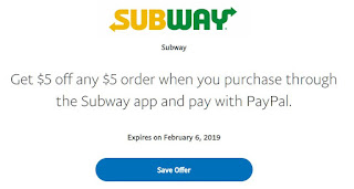 $5 of Free Food From Subway When You Pay With Paypal