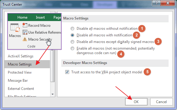 Excel Trust Center - Check Security Setting