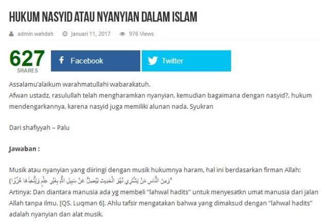 Hukum Nasyid atau Nyanyian dalam Islam