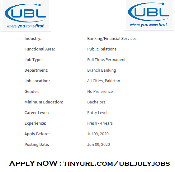 UBL Bank Jobs 2020 July for Fresh Graduates | All Pakistan