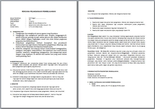RPP IPA Kelas 7 Kurikulum 2013 Revisi 2019-2020 Semester 1 dan 2