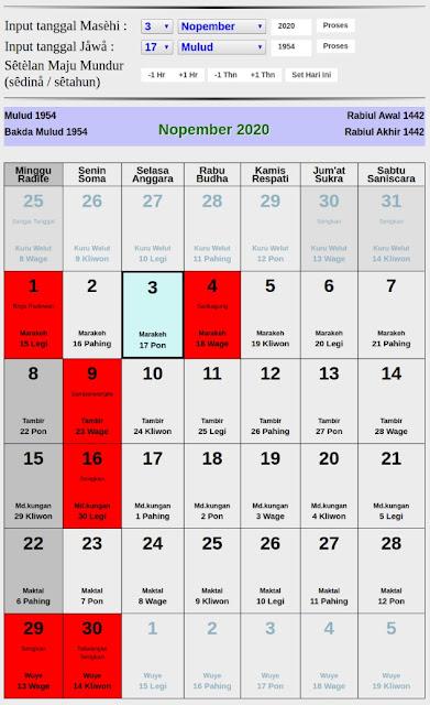 Kalender Jawa hari baik bulan november 2020