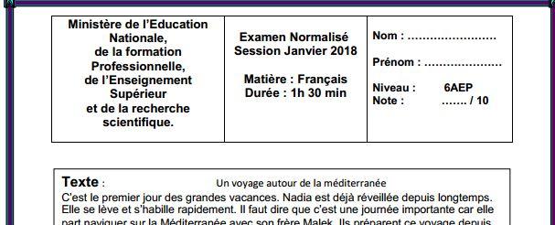 Examen normalisé : Français Français pratique Session Janvier 2018