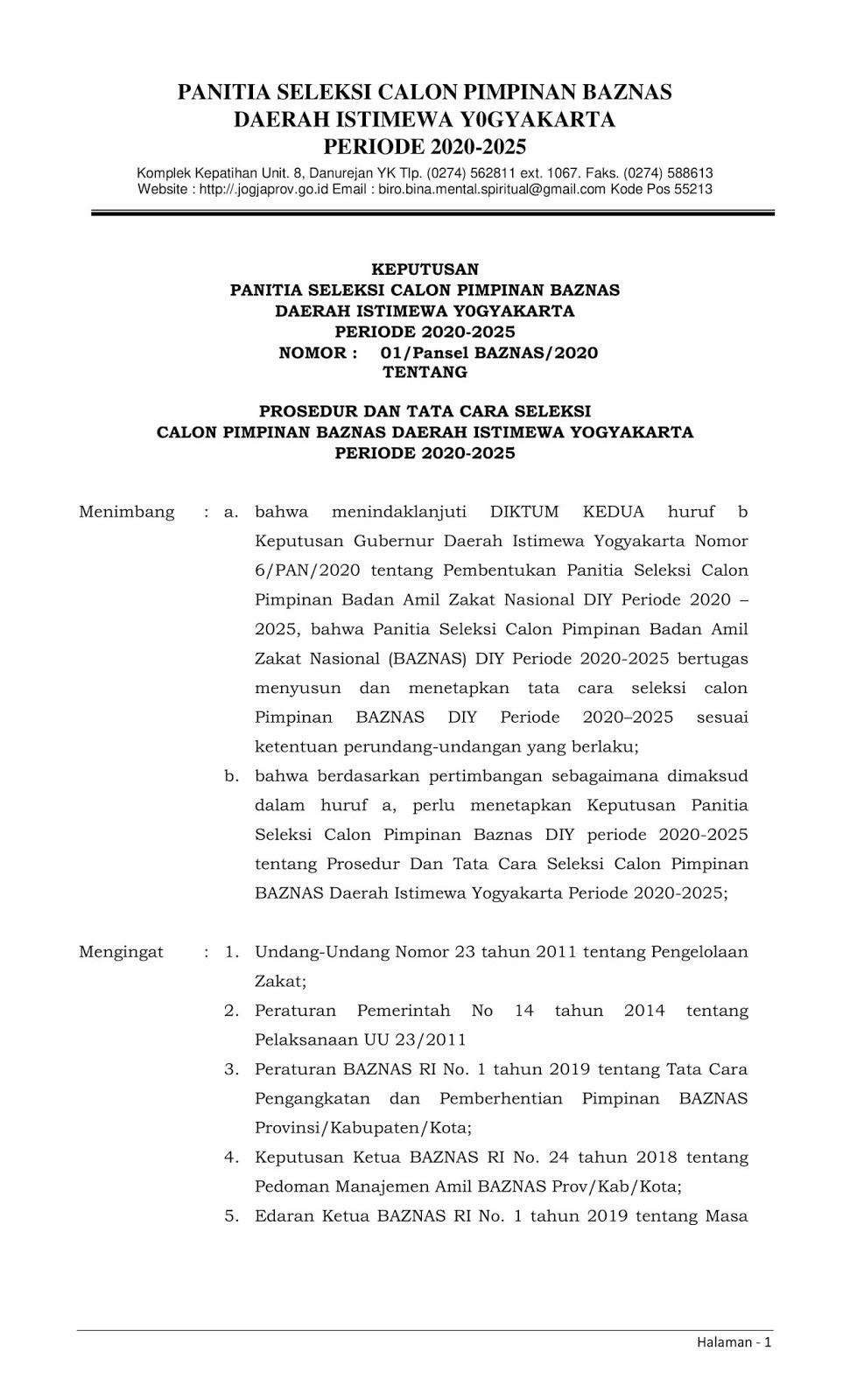 Lowongan Kerja Baznas Daerah Istimewa Yokyakarta Tahun 2020