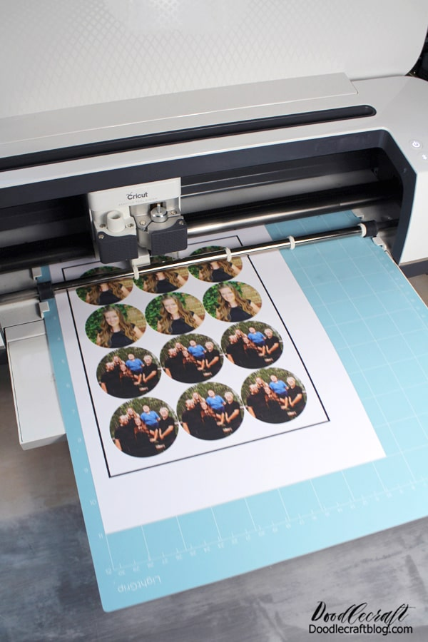 The Cricut will scan the line and cut out the images...so you have no pressure trying to line up the paper exactly perfectly.