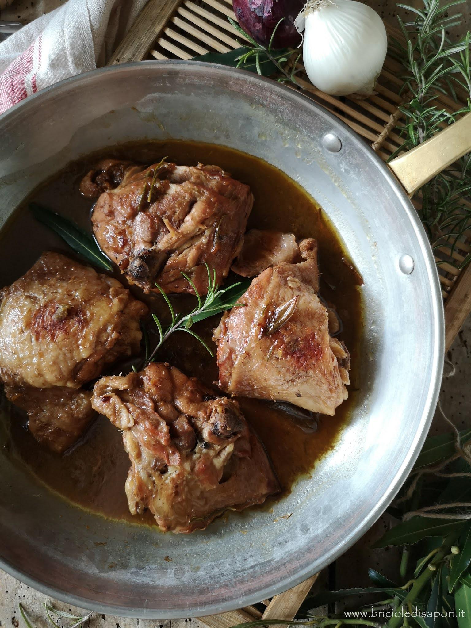 pollo al vin santo aceto balsamico rosmarino e alloro