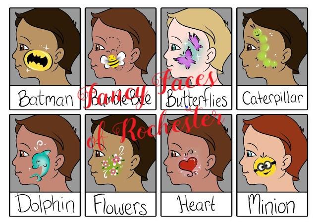 batman, bumblebee, butterflies, caterpillar, dolphin, flowers, heart, and minion check art designs