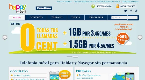 Imagen de la web Happy Móvil cuando pertenecía a The Phone House