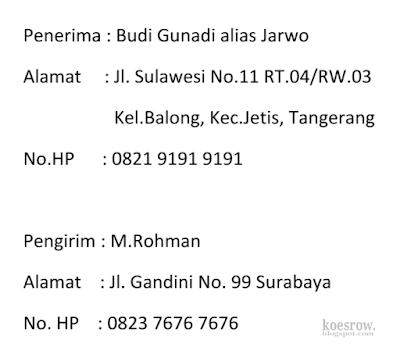 Contoh penulisan identitas penerima dan pengirim paket