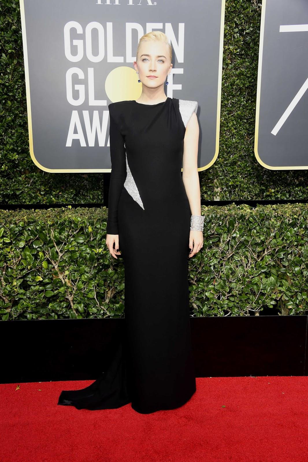 Saoirse Ronan Posing on the Red Carpet at Golden Globe Awards