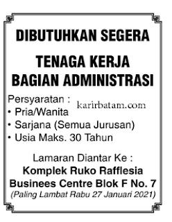 Lowongan Kerja Tenaga Administrasi Batam (Ditutup 27 Januari 2021)
