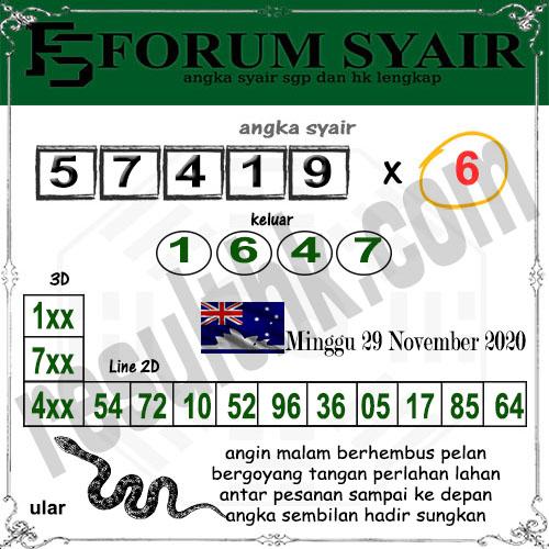 Forum Syair Sidney Minggu 29 November 2020
