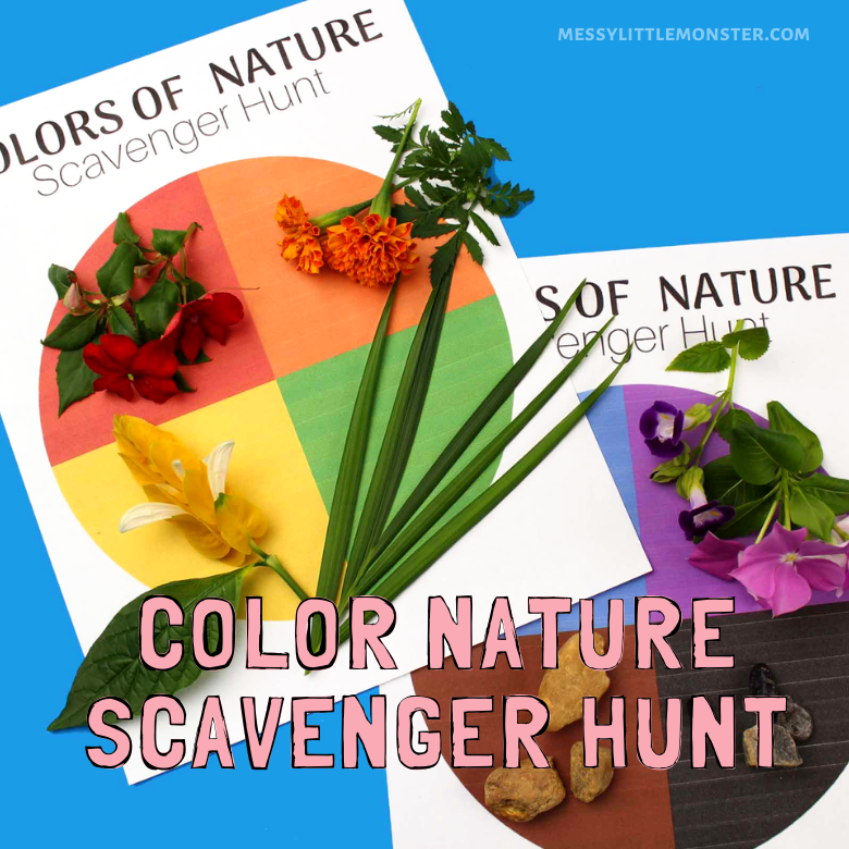 color nature scavenger hunt printable