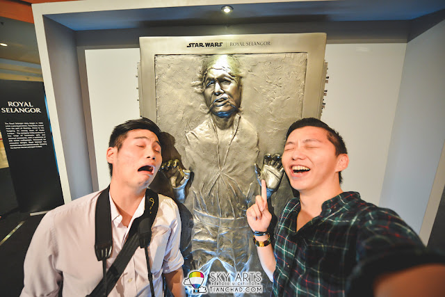 Mimicking the face of Han Solo on the Carbonite at Sunway Pyramid