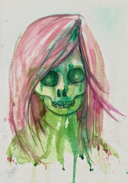 Carmen Wing - Watercolour, Neocolour ii & Fineliner #Skull #SummerofColorFour